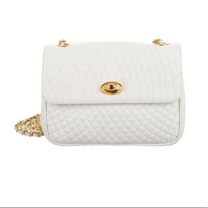 Bally White Quilted Mini Leather Crossbody Bag